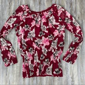 INC International Concepts Floral Print Pink Red